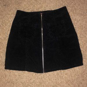 Velvet front-zip skirt